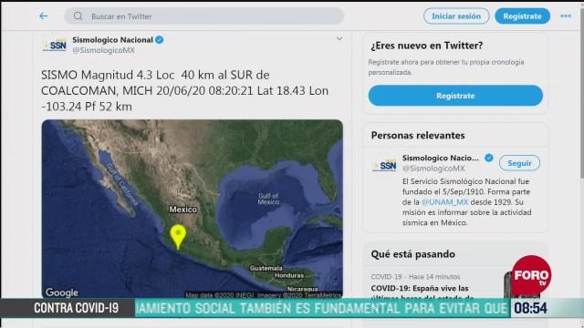 FOTO: 20 de junio 2020,se registra sismo en michoacan hoy sabado 20 de junio