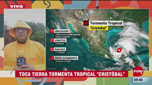 toca tierra tormenta tropical cristobal en campeche