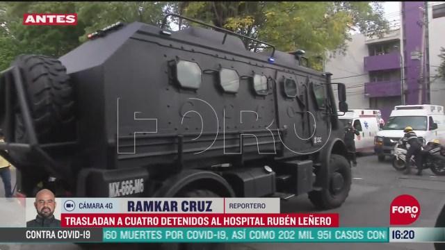 FOTO: trasladan a 4 detenidos en atentado contra garcia harfuch a hospital ruben lenero