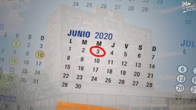 Calendario 2020-2021 de la UNAM. Twitter/UNAM