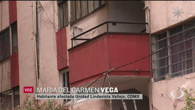 Edificio U.H. Lindavista Vallejo dañado por el sismo
