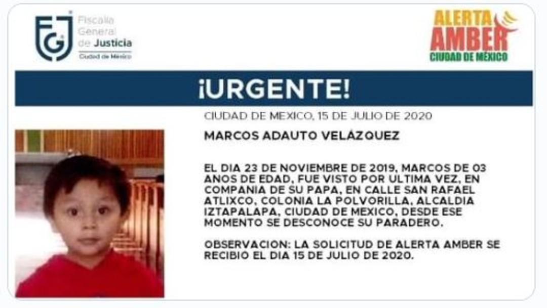 Activan Alerta Amber para localizar a Marcos Adauto Velázquez