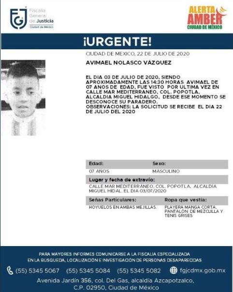 Activan Alerta Amber para localizar a Avimael Nolasco Vázquez.