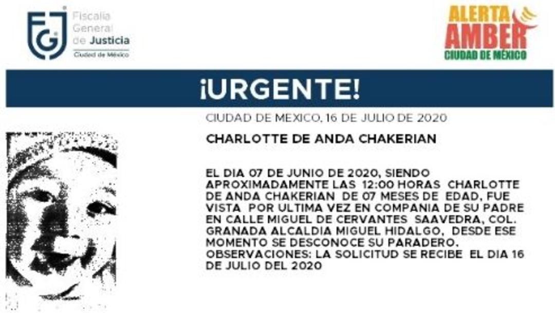 Activan Alerta Amber para localizar a Charlotte de Anda Chakerian
