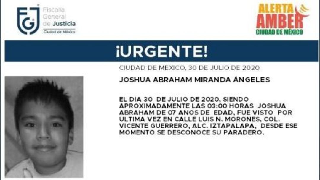 Activan Alerta Amber para localizar a Joshua Abraham Miranda Ángeles