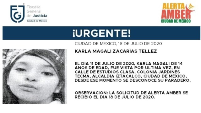 Activan Alerta Amber para localizar a Karla Magali Zacarías Téllez