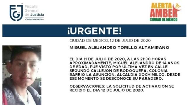 Activan Alerta Amber para localizar a Miguel Alejandro Torillo Altamirano