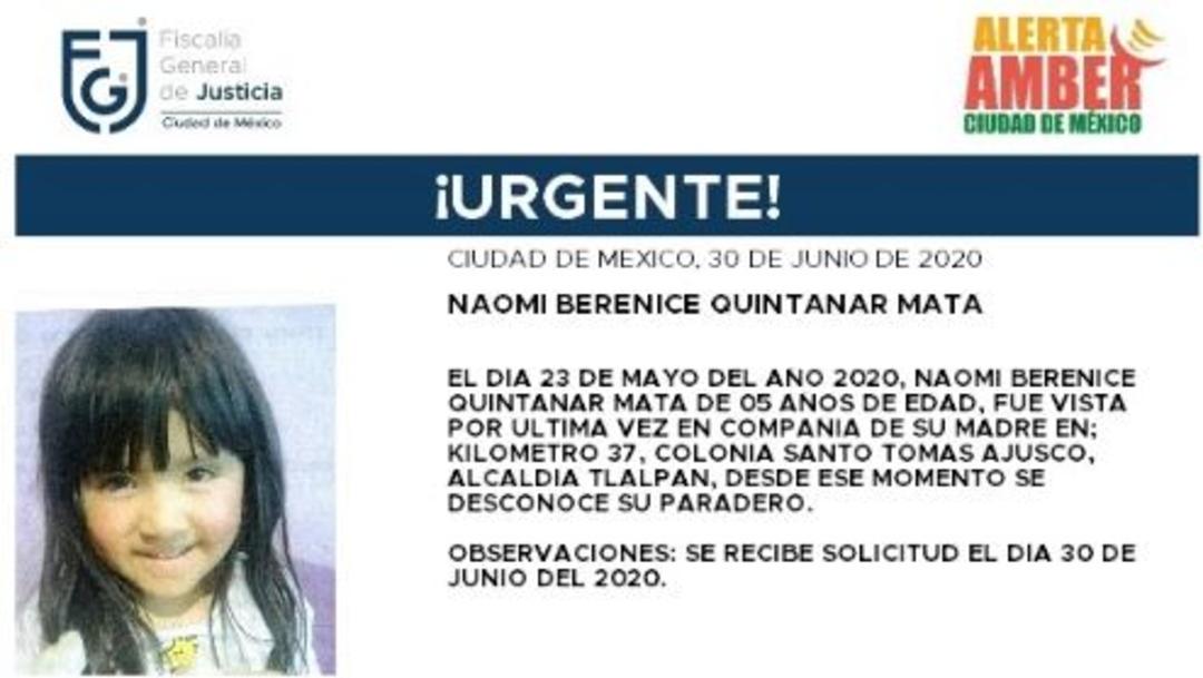 Activan Alerta Amber para localizar a Naomi Berenice Quintanar Mata.