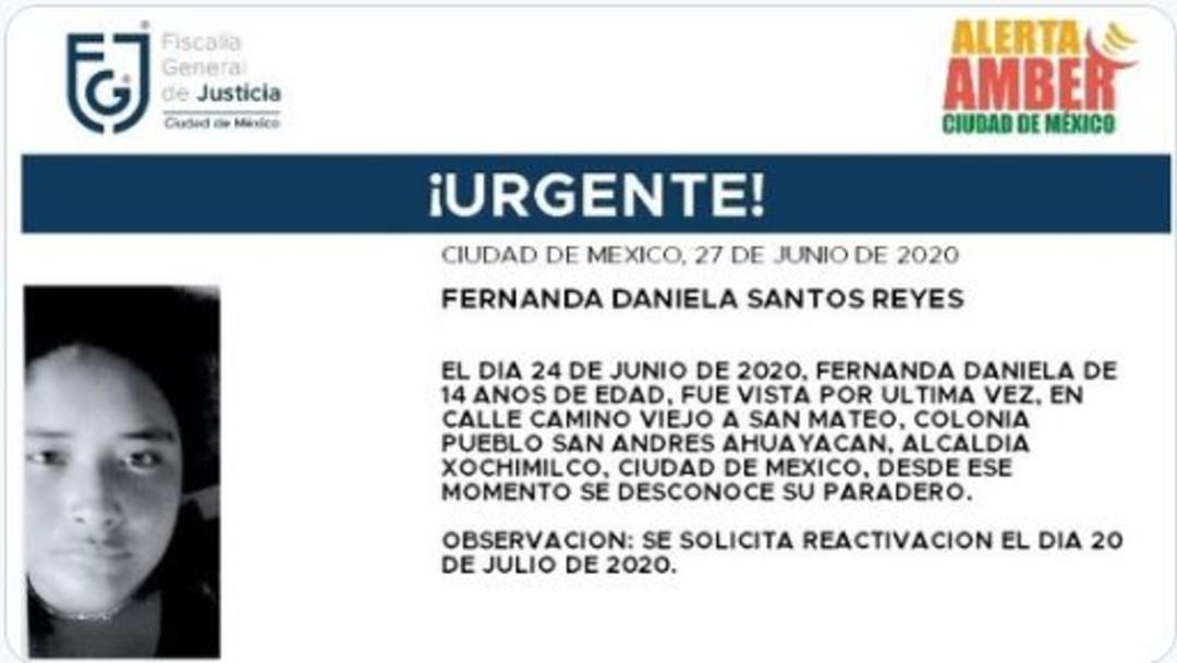 Activan Alerta Amber para localizar a Fernanda Daniela Santos Reyes