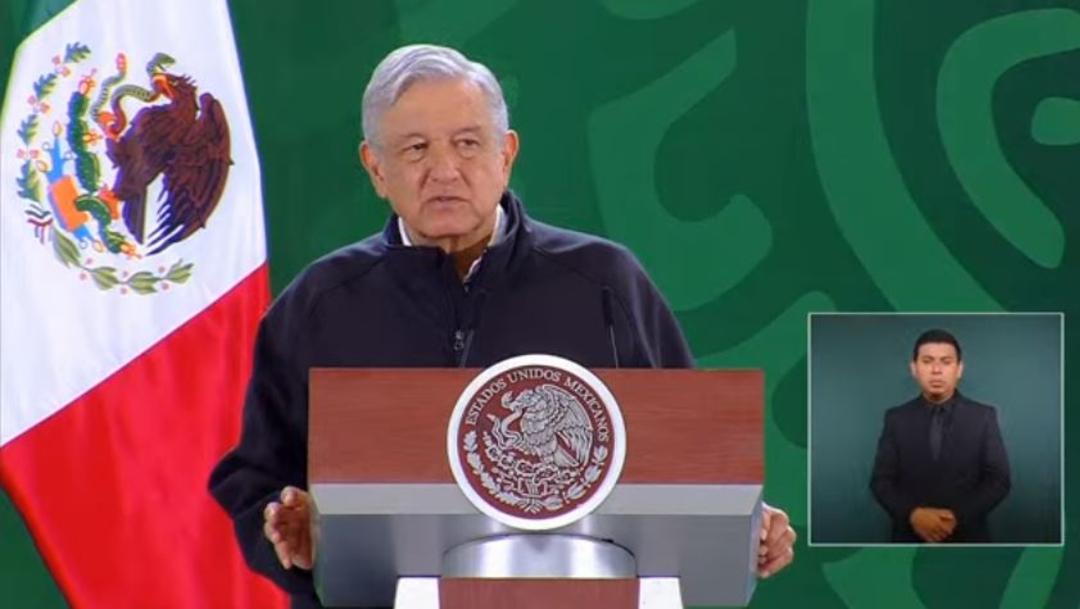 El presidente Andrés Manuel López Obrador en conferencia de prensa matutina desde Oaxaca.