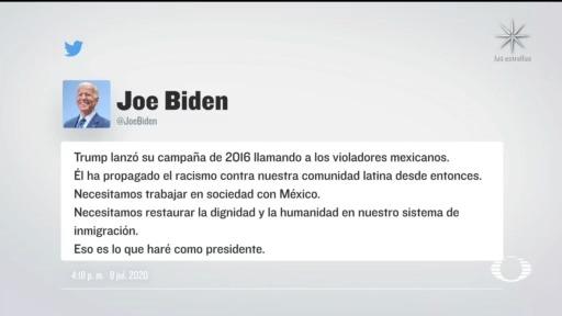 Joe Biden recordó que Donald Trump, durante la campaña presidencial, afirmó que los mexicanos eran 'violadores