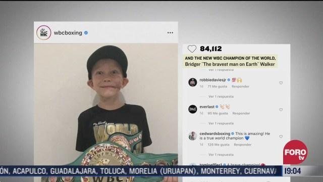 Bridger Walker niño que salvó a su hermana de ataque de perro recibe cinturón del CMB Consejo Mundial de Boxeo