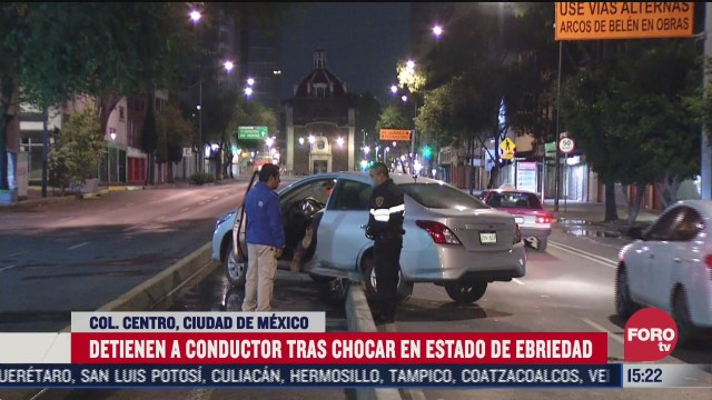 FOTO: 4 de julio 2020, conductor en estado de ebriedad choca en el centro historico