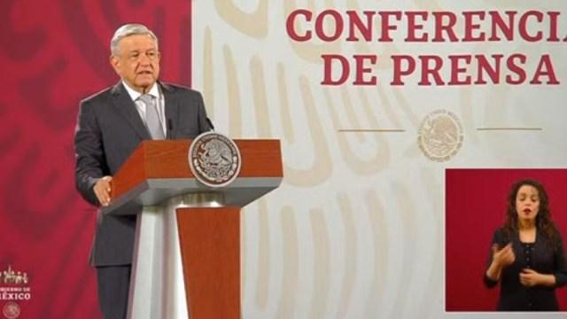El presidente de México, Andrés Manuel López Obrador, durante su rueda de prensa en el Palacio Nacional