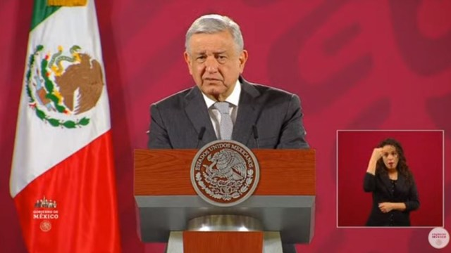 El mandatario mexicano, Andrés Manuel López Obrador, durante su rueda de prensa en el Palacio Nacional.