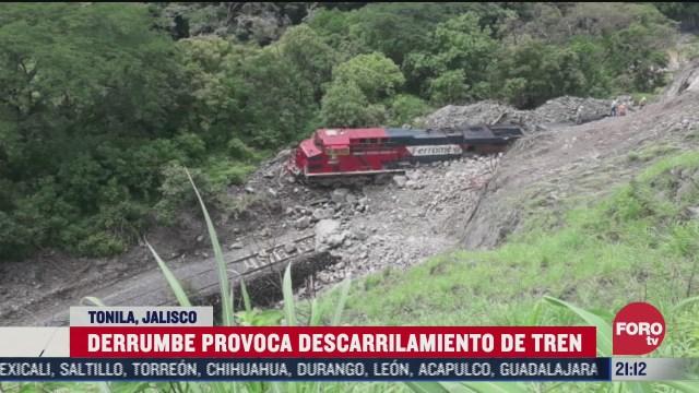 derrumbe provoca descarrilamiento de tren en tonila Jalisco