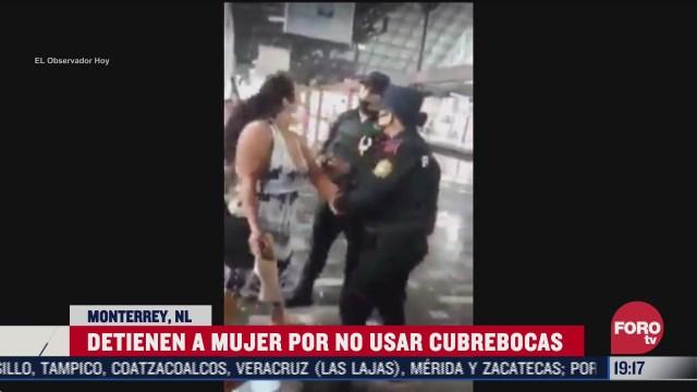 mujer usuario del mtreo Monterrey detenida por no usar cubrebocas