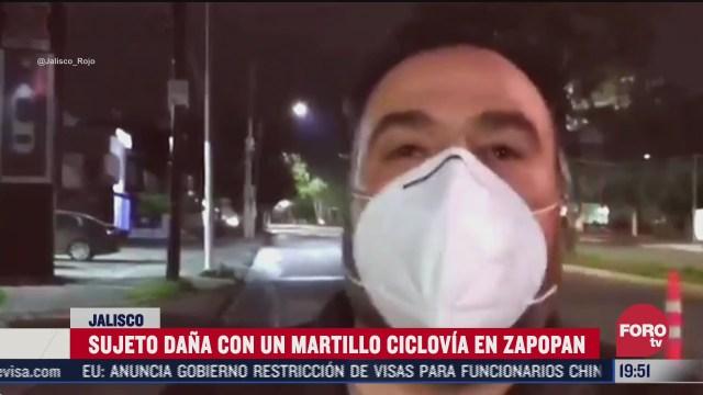 FOTO: 7 de julio 2020, hombre destruye ciclovia lo llaman el thor zapopan