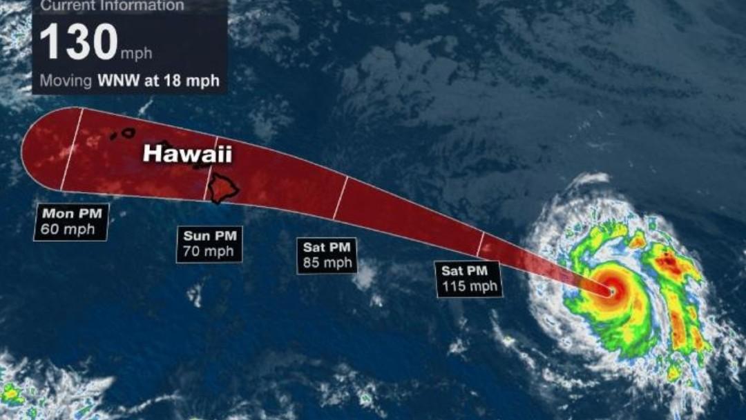 Huracán Douglas sube a categoría 4, lejos de costas de México; se dirige a Hawaii