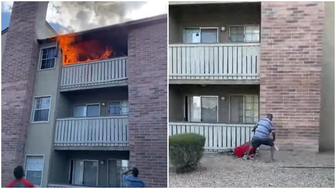Un ex de la NFL salva a un niño que fue arrojado por la ventana de su casa en llamas