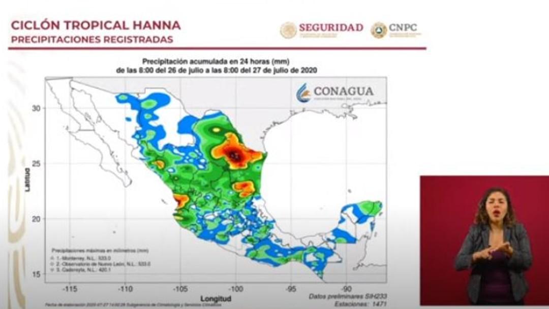 Mapa de precipitaciones pluviales por huracán Hanna