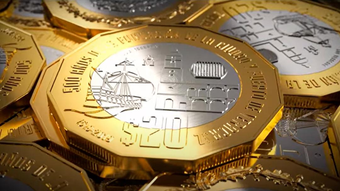 La nueva moneda de 20 pesos circula en estados del sureste de México