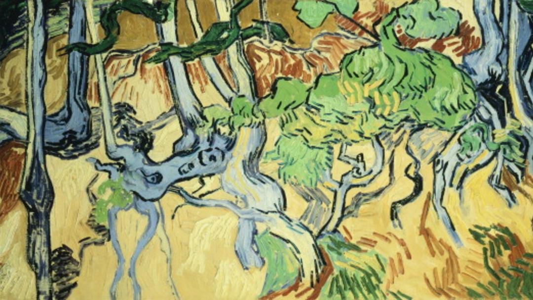 """La última pintura del artista holandés Vincent van Gogh, llamada """"Tree Roots"""""""