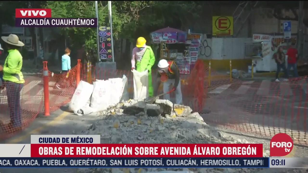 obras en avenida alvaro obregon cdmx ponen en riesgo a peatones