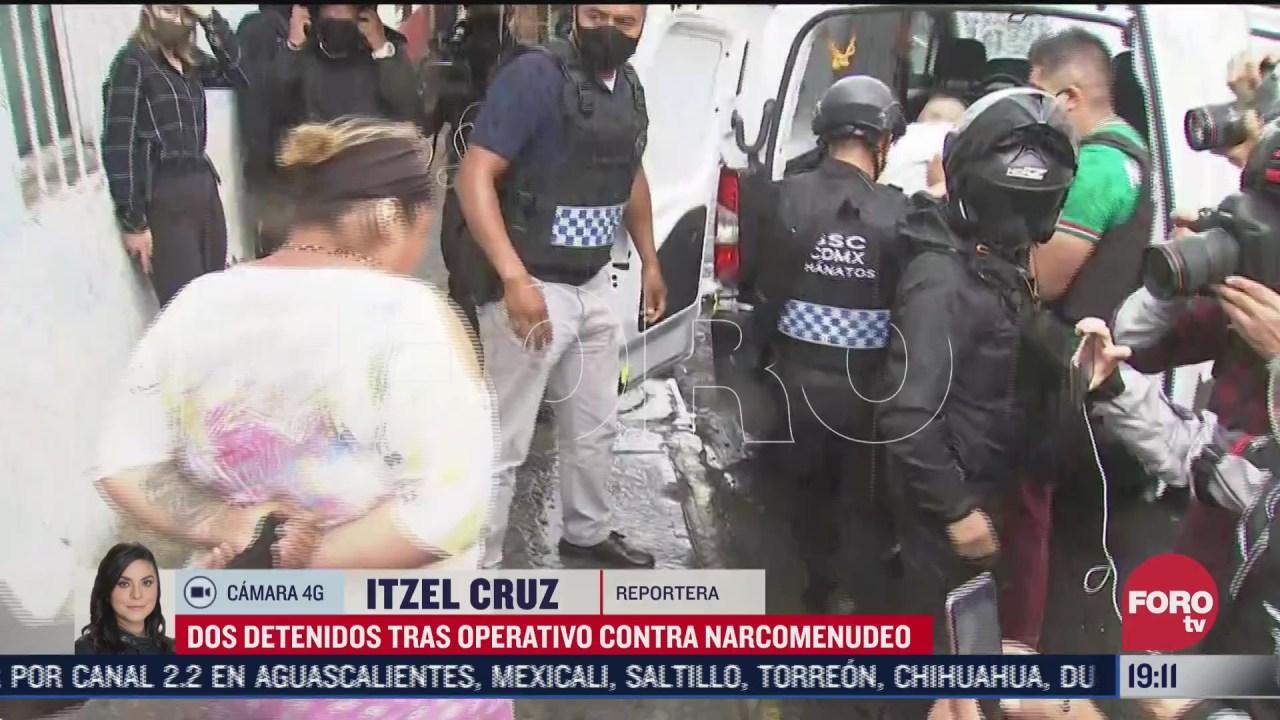 Policía de CDMX detiene a dos personas en operativo contra narcomenudeo en la GAM