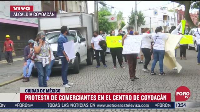 protestan comerciantes en el centro de coyoacan