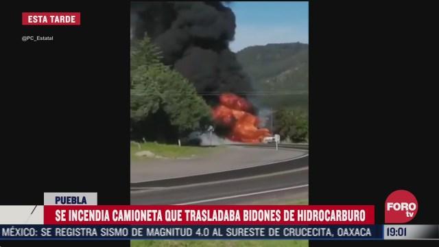 FOTO: 12 de julio 2020, reportan incendio de camioneta que trasladaba hidrocarburo en puebla