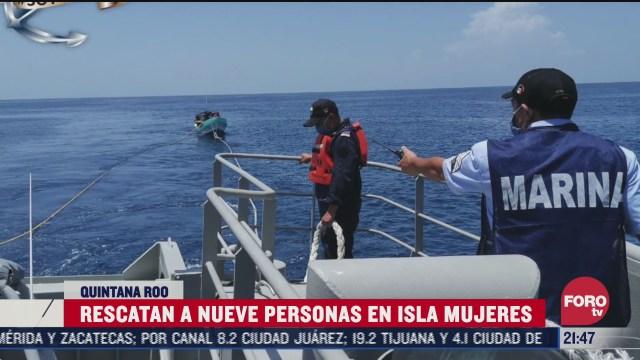 FOTO: 12 de julio 2020, rescatan a nueve personas de dos embarcaciones en quintana roo