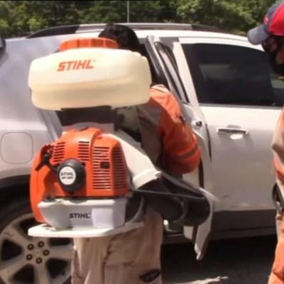 Realizan sanitización de transporte público en Chiapas por COVID-19