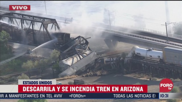 se descarrila y se incendia tren en arizona