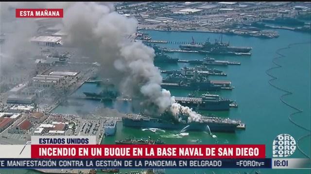 FOTO: 12 de julio 2020, se registra incendio en buque en la base naval de san diego