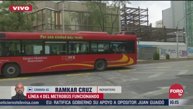 FOTO: 4 de julio 2020, se restablece circulacion de la linea 4 del metrobus tras bloqueo