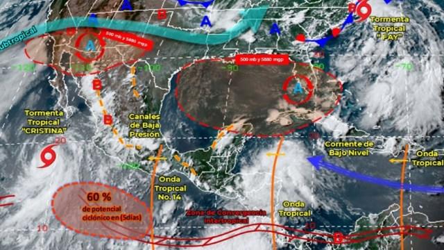 Cristina aumenta posibilidad de convertirse en huracán al sureste de la Península de Baja California