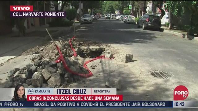 vecinos reportan obra inconclusa en la colonia narvarte poniente cdmx