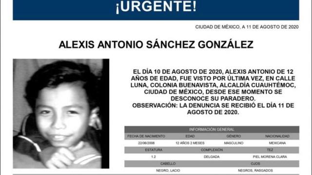 Activan Alerta Amber para localizar a Alexis Antonio Sánchez González