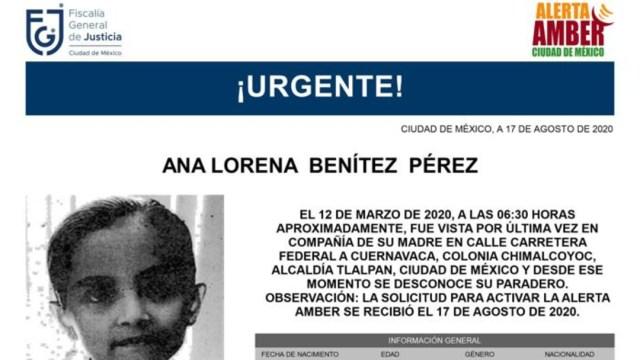 Activan Alerta Amber para localizar a Ana Lorena Benítez Pérez