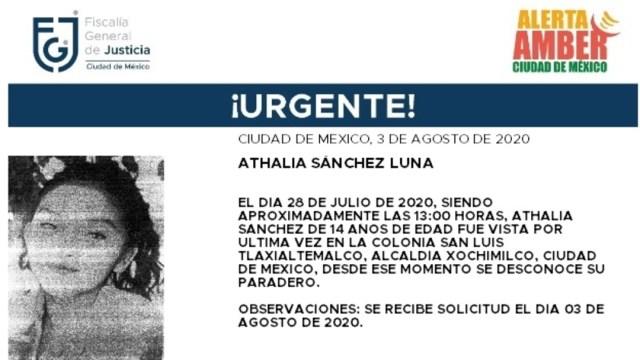 Activan Alerta Amber para localizar a Athalia Sánchez Luna