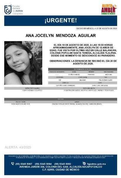 Activan Alerta Amber para localizar a Ana Jocelyn Mendoza Aguilar