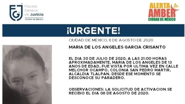 Activan Alerta Amber para localizar a María de los Ángeles García Crisanto