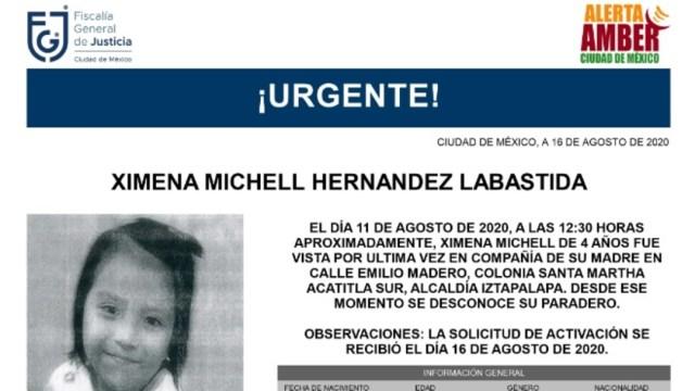 Activan Alerta Amber para localizar a Ximena Michell Hernández Labastida