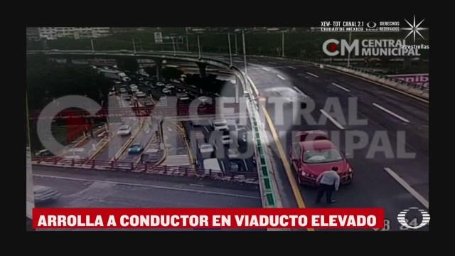 arrollan a conductor en viaducto elevado bicentenario