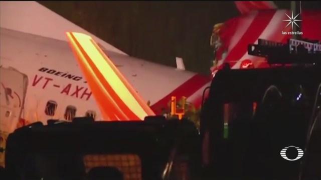 avion de air india se parte en dos durante aterrizaje