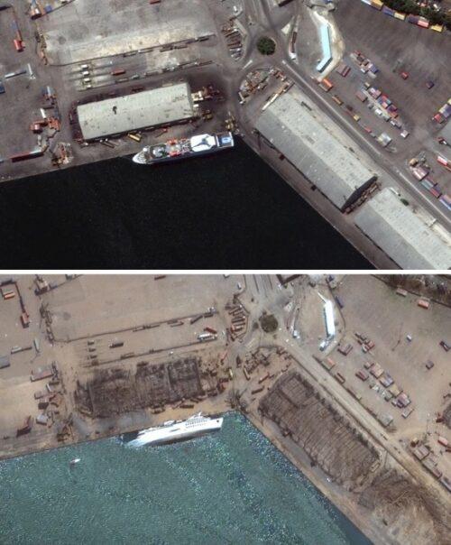 Beirut antes y después de la explosión en fotos de satélite