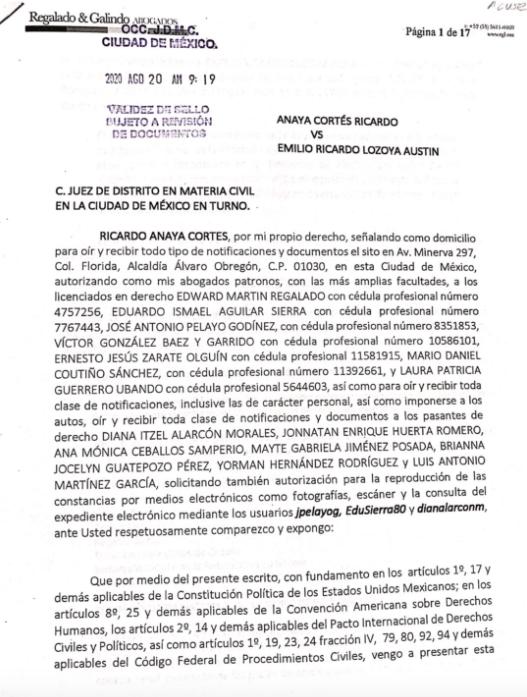Ricardo Anaya presenta denuncia ante la FGR por caso Lozoya