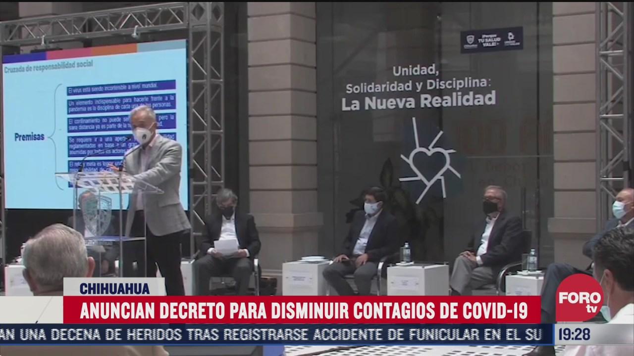 chihuahua anuncia decreto para disminuir contagios de covid