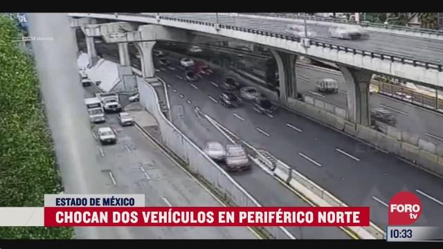 chocan dos vehiculos en periferico norte en el estado de mexico